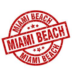 Miami beach red round grunge stamp vector