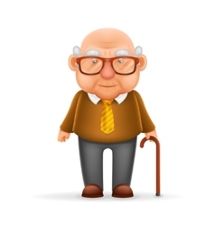 Old Man Grandfather 3d Realistic Cartoon Character vector image
