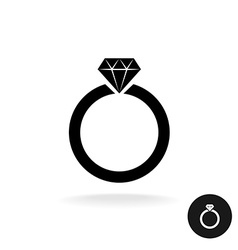 Wedding engagement ring simple black icon with vector image
