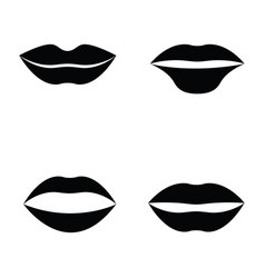women lips and mouth flat style icon set vector image