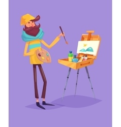 Funny artist character isolated vector