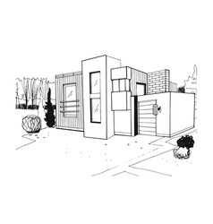 hand drawn villa modern private residential house vector image