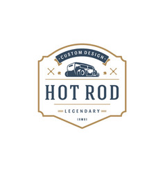 hot rod car logo template design element vector image