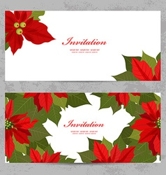invitation cards with poinsettia for your design vector image