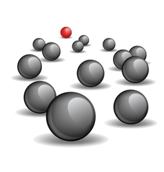 One red unique sphere lead crowd of black spheres vector image