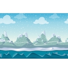 Seamless cartoon winter landscape for vector image vector image