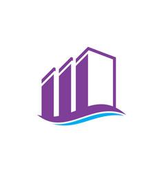 wave buildings real estate logo image vector image vector image