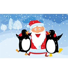 Winter Christmas background with Santa vector image