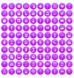 100 beauty salon icons set purple vector