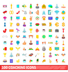 100 coaching icons set cartoon style vector