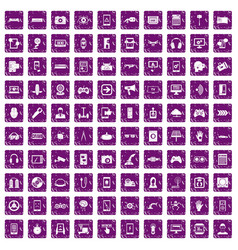 100 gadget icons set grunge purple vector image