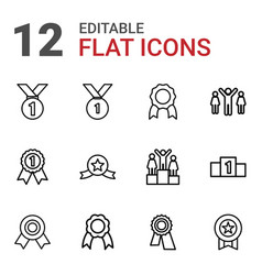 12 medal icons vector