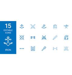 15 iron icons vector