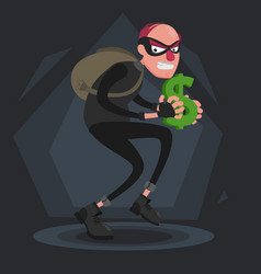 a balding thief with a backpack sneaks with a vector image