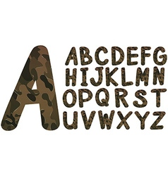 Alphabet font design with military theme vector