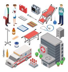 ambulance doctor character ambulance car vector image