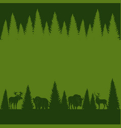background of silhouettes of wild forest animals vector image