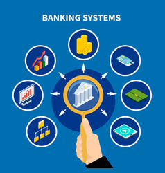 Banking systems pictograph concept vector