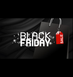 black friday banner design on fabric background vector image