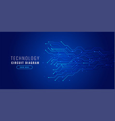 blue technology background with circuit diagram vector image