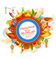 Burning diya on happy diwali holiday sale vector