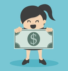 business woman holding money vector image