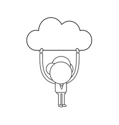 businessman character holding up cloud black vector image
