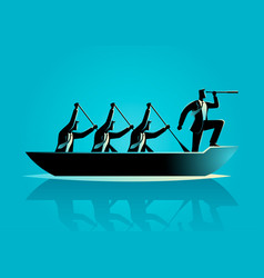 Businessmen rowing the boat vector