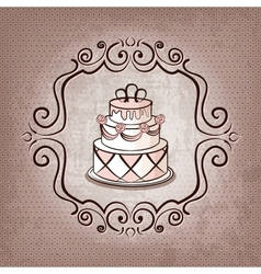 cake on polka dot background vector image