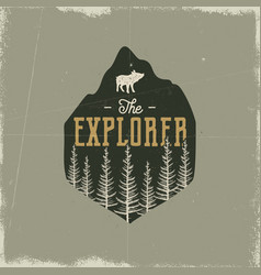 Camping wildlife badge the explorer logo vector