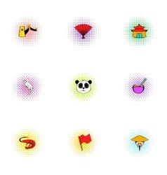 China Republic icons set pop-art style vector image