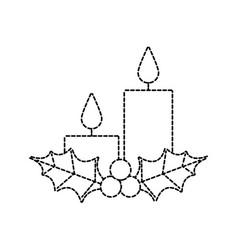 Christmas candles holly berries season holiday vector