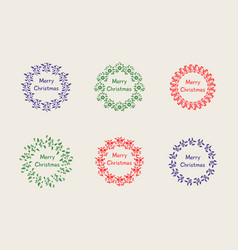 Christmas wreath set with winter floral vector