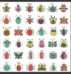 Color flat line insects icons set butterfly bugs vector