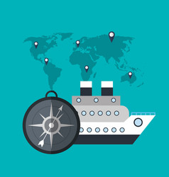 Cruise ship compass world travel vector