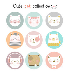 cute baby cat with cartoon hand drawn style vector image