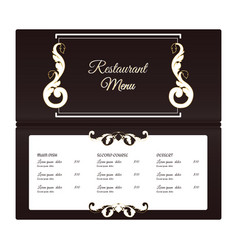 Elegant horizontal restaurant menu template it is vector