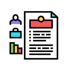 Employee cv color icon sign vector