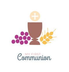 First communion symbols for a nice invitation vector