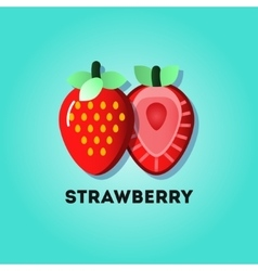 Flat lay strawberries vector