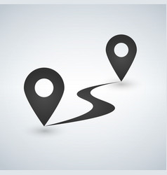 Flat route icon gps distance vector