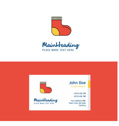 flat socks logo and visiting card template vector image