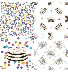 Four seamless pattern with birthday cake and vector image