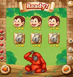 Game template with monkey background vector image