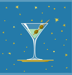 glass of martini with olives on tray vector image