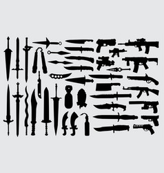 Gun pistol sword and knife weapon silhouette vector