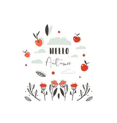hand drawn abstract greeting cartoon autumn vector image