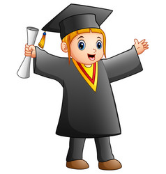 happy girl in black graduation gown vector image