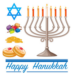 Happy hannukkah theme with doughnuts and lights vector