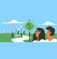 happy people in green eco city park with windmill vector image